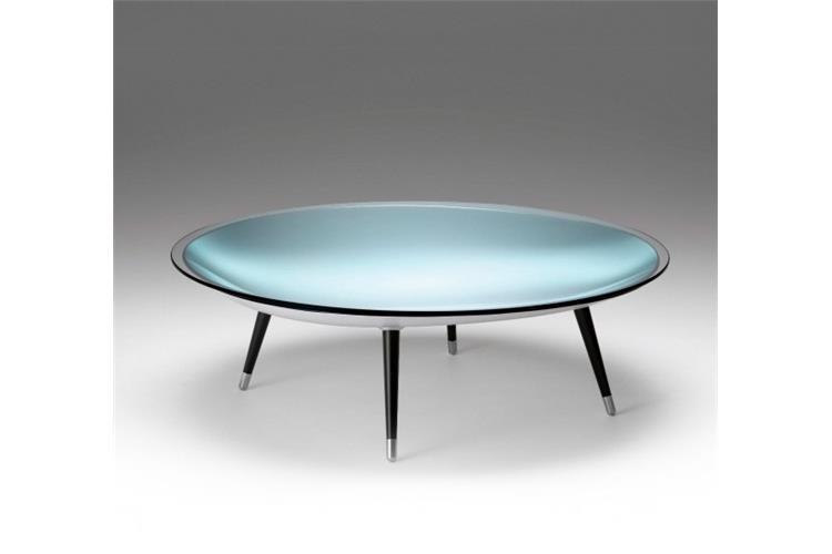 roy tavolino vetro curvato argentato e gambe laccato nero